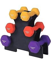 SONGMICS SYL69BK Halterset, hexagon, met halterstandaard, 2 x 1 kg, 2 x 1,5 kg, 2 x 2 kg, matte afwerking, neopreen coating, krachttraining voor vrouwen, thuis, in de sportschool