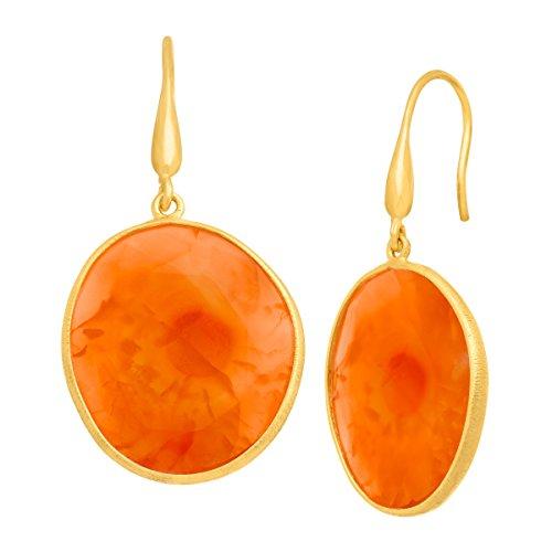 Piara 27 ct Natural Carnelian Drop Earrings in 18K Gold-Plated Sterling (18k Carnelian Ring)