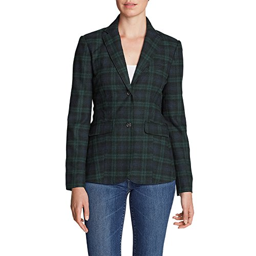 Tweed Womens Blazer (Eddie Bauer Women's Classic Wool-Blend Blazer - Pattern, Juniper 14)