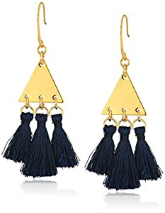 Rebecca Minkoff Tri Tassel Chandeliers Gold/Navy Tassels Drop Earrings
