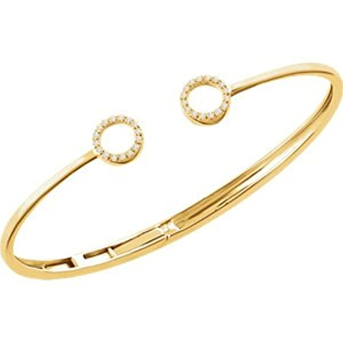(14kt Yellow 1/6 CTW Diamond Circle Hinged Bangle 7