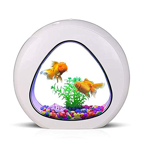 (ZNN Fish Tank-3 in 1 Acrylic Aquarium Desktop Aquarium, Built-in Filter, Silent Air Pump, with Touch LED Lights, Pebbles and Simulated Landscaping, White)