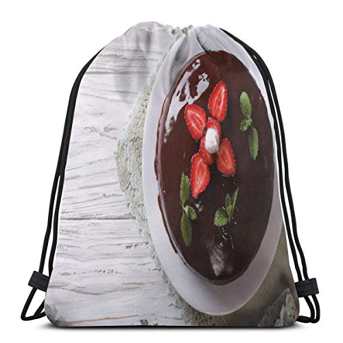 Coastal Chocolate Mint - Unisex Drawstring Bag Gym Bags Storage Backpack,From Above Photo Of Chocolate Cake With Fresh Strawberries And Mints On Table