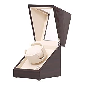 Pateker¨ Ebony Wood Finish Single Watch Winder, White Leather Display Box Case [100% Handmade]