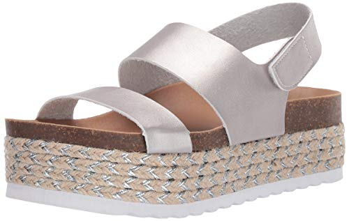 (Dirty Laundry by Chinese Laundry Women's Peyton Espadrille Wedge Sandal, Silver Metallic, 6.5 M US)