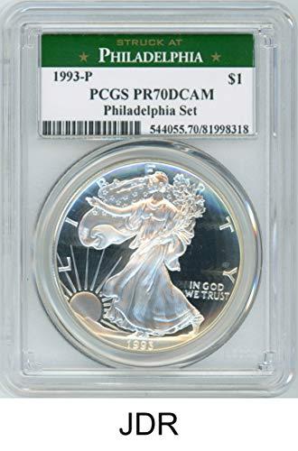 1993 P Silver Eagle Philadelphia Set $1 PR70DCAM PCGS ()
