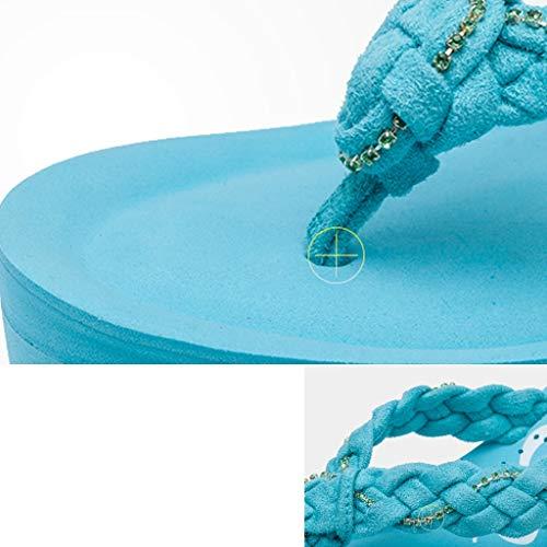 antidérapantes Couleur Plage à épaisse Noir AMINSHAP à Bleu Taille Talons Talons Pantoufles de 38EU et Semelle Hauts Hauts à Pantoufles Chaussures wq1a7qxY