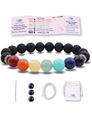 NatureWonders 10mm Real Stone Chakra Healing Bracelet Aromatherapy Lava Stone Essential Oil Diffuser (Brochure, Pouch & DIY Kit) Yoga Meditation Women Men Gift Self Care Self Love