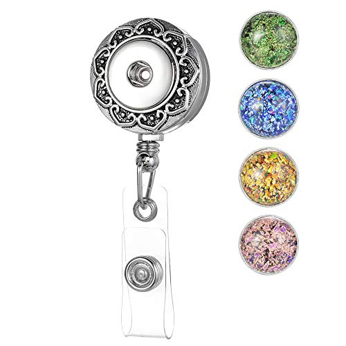 Women Office Retractable Badge Holder fit 18mm Snap Charms,27 inch Cord,ID Badge Reel (Set C)