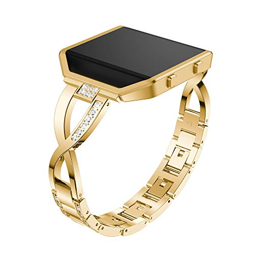 Stainless Steel Bands+ Plating Metal Frame for Fitbit Blaze,Bling Replacement Bracelet with Rhinestones Diamond Wristbands Accessories