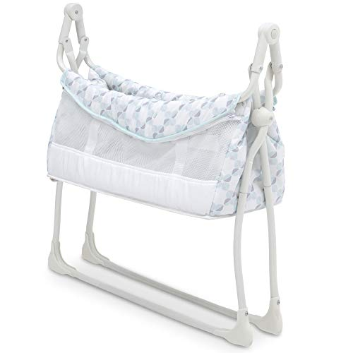 41 MMqzSmbL - Delta Children Deluxe Activity Sleeper Bedside Bassinet - Folding Portable Crib For Newborns, Windmill