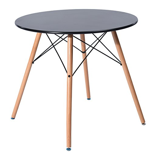 - HomyCasa 80CM Dining Round Table Modern Retro Desk with Beech Wood Legs Black