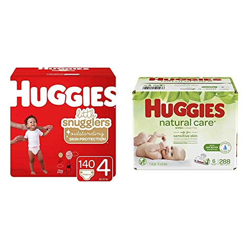 BUNDLE HUGGIES Little Snugglers Baby Diapers, Size 4, 140 Count & HUGGIES Natural Care Unscented Baby Wipes, Sensitive, 6 Disposable Flip-top Packs (288 Total Wipes) by Huggies (Image #1)