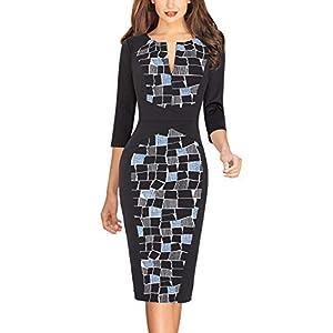 VFSHOW Womens Elegant Slim Front Zipper Work Business Office Cocktail Bodycon Sheath Dress