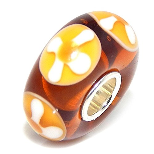 "Solid 925 Sterling Silver ""Amber Color with White and Yellow Flower Design"" Glass Charm Bead"