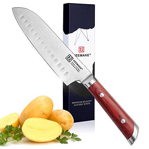Japanese Santoku Knife 7inch German Stainless Steel Razor Sharp Cutter Kitchen Chef's Vegetable Knife - Ergonomic Pakkawood Handle with Gift Box