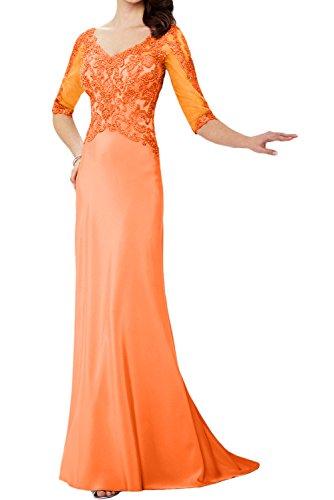V Perlen Lang Abendkleider Neu Ivydressing Paillette Neck Exklusive Halbarm Orange Spitze Applikation Partykleider Mutterkleider xqTYxE8R