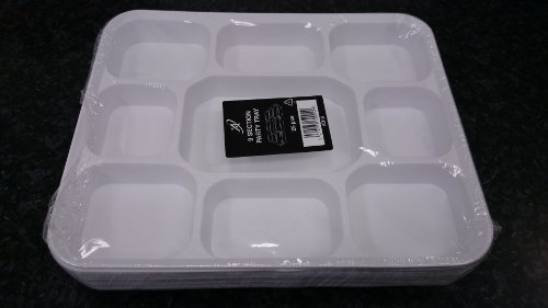Thali Outlet - 100 x Disposable Strong White Plastic Thali Trays 9 Sec Gujarati by Thali Outlet - Leeds Outlet