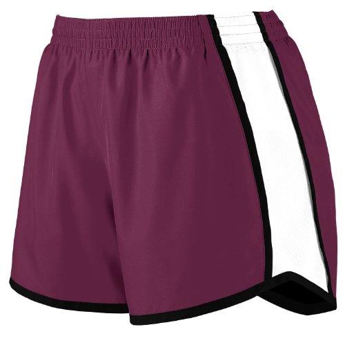 Augusta Sportswear Women's Moisture Elastic Short, Maroon/White/Black, X-Large