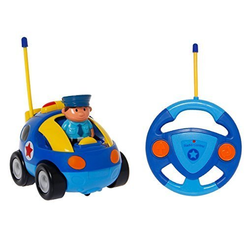 IFixer RC Remote Control Police Car Train Toy for Toddlers Preschooler Baby Kids, Remote Control RC Cartoon Race Car with Light Music Radio for Kids Birthday Gift Present, Blue