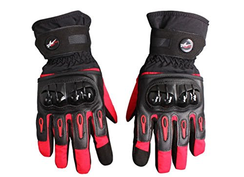 Waterproof Motorcycle Gloves Full Finger Gloves For Motorcycle Biker Riding Powersports Outdoor Racing Hard Plastic Knuckle (XL, Red)