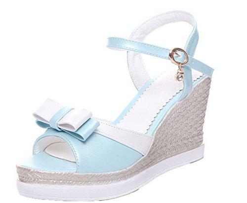 Sandales D'orteil Bleu Tsflg004765 Femme Aalardom Ouverture Mélangées Pu Couleurs Boucle Cuir aSTqw