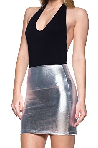 Women's J2 Love Faux Leather Mini Skirt, Medium, Silver ()