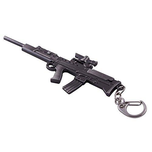 Mallofusa Miniature Gray Metal L85a1 Assault Rifle Gun Model Keychain Bag Pendant