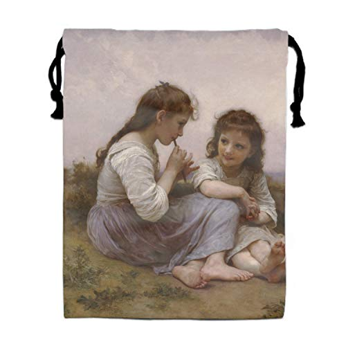 Drawstring Bags Cheap for Kids Party Artistic Drawing Girl Flute Reed Meadow Maters Oil Rennaisance Favors Bags Gym Drawstring -