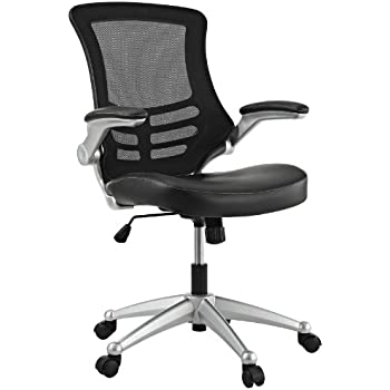 Superieur Modway Attainment Mesh Back And Black Vinyl Seat Modern Office Chair With  Flip Up Arms