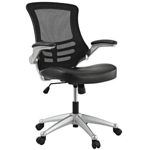 Modway Attainment Mesh Back And Black Vinyl Seat Modern Office Chair With Flip-Up Arms – Ergonomic Desk And Computer Chair