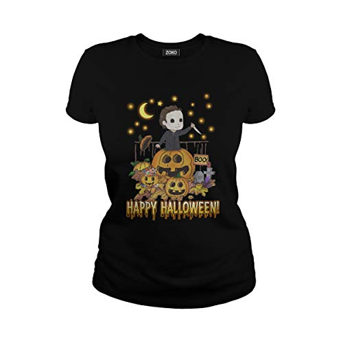 Women's Happy Halloween Michael Myers T-Shirt (S, Black) ()
