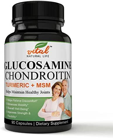 A Comprehensive Formulation Glucosamine Chondroitin MSM + Turmeric - Extra Strength Joint Support Supplement - Relieve Sore Knee, Hip, Finger, Wrist, Elbow, Shoulder, Lower Back Pain - Non-GMO Formula