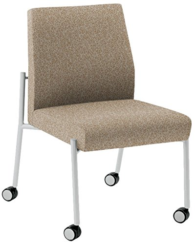 (Lesro Mystic Armless Guest Chair with Casters in Silver Frames, Tendril River Rock)