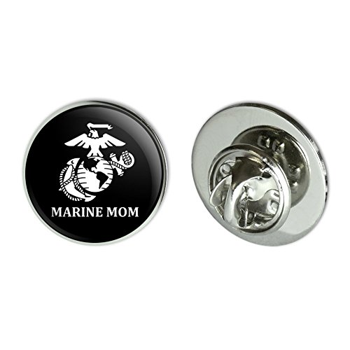 Graphics and More Marine Mom USMC White Logo on Black Officially Licensed Metal 0.75