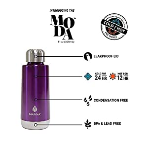 Manna Moda Kids Metallic Stainless Steel Double Walled Vacuum Insulated 11 oz Water Bottle | No Sweat | BPA Free | Keeps Drinks Hot 12 Hours & Cold 24 Hours | Perfect for School and Sports - Punch