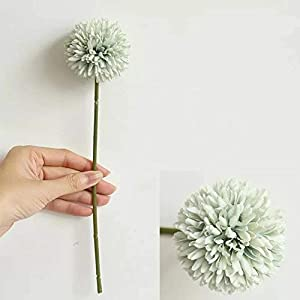 Jasion 10pcs Artificial Chrysanthemum Ball Flowers Bouquet for Present Home Office Coffee House Parties and Wedding Decoration (Light Green) 2