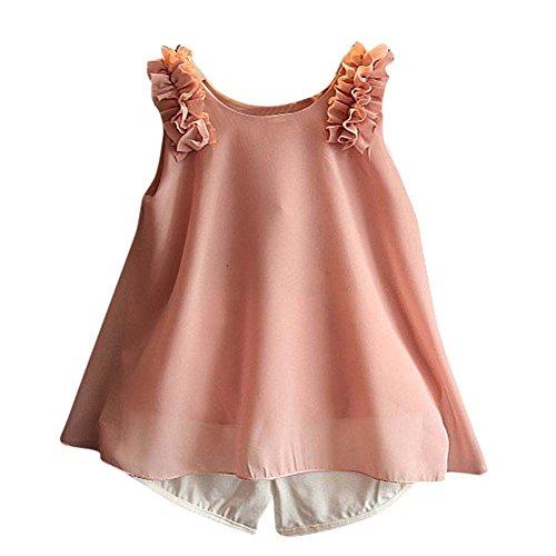 Gilet Bébé Vêtements Chemise Enfants De Ensemble Pantalons Rose Manches Fille Sans Amlaiworld Short qZSUx