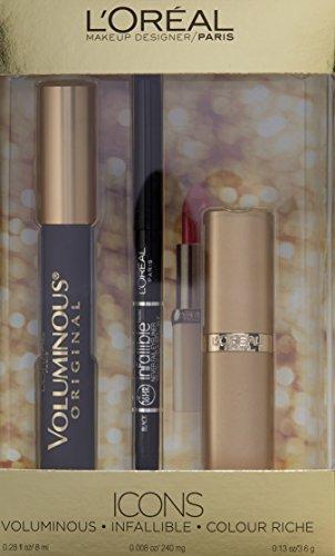 L'Oreal Paris Icons Makeup Kit, with Voluminous Mascara, Infallible Liner a