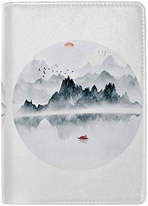 パスポートカバー スキミング防止 本革 パスポートケース 出張 旅行 カードパッケージ 旅行便利グッズ 多機能 旅券ケース 山の湖の風景 男女兼用