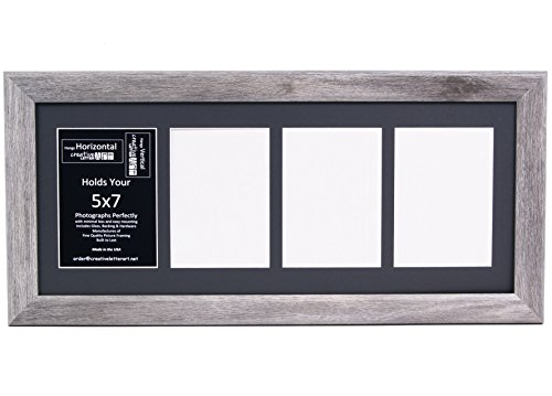creative letter art 4 opening driftwood picture frame with glass to hold 5 by 7 inch photographs including 10x24 inch black mat collage