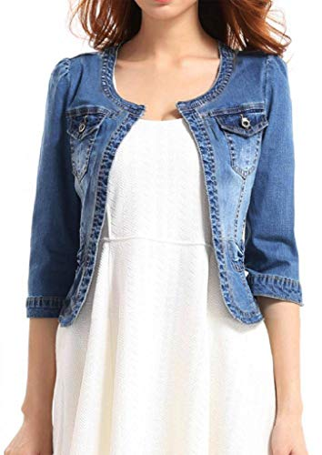 Fundu Women's Crew Neck Denim Cotton Blue Cute Three Quarter Sleeves Short Jacket US ()