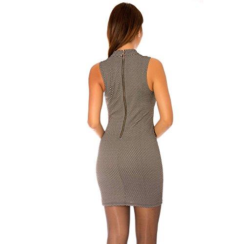 Miss Wear Line - Robe noir sans manches avec col cheminé et zip au dos