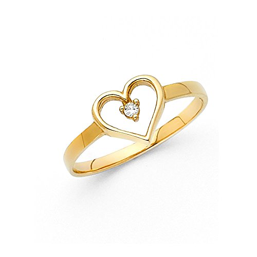 Gold Open Heart Ring (14k Yellow Gold Cubic Zirconia Open Heart Ring)