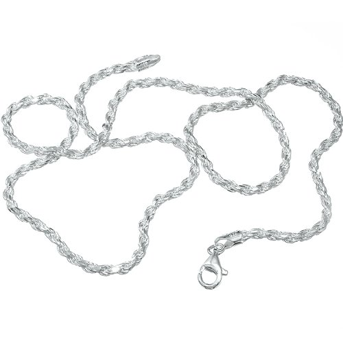 3mm .925 Sterling Silver Diamond-Cut Rope Link Chain Necklace, 16 Inches