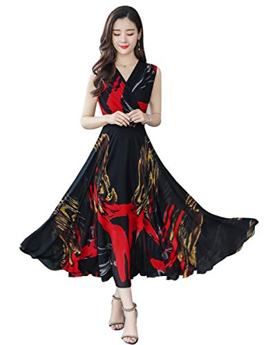 - Wincolor Women's Sleeveless Chinese Traditional Floral Printed Slim Summer Dress