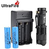 Ultrafire® Mini Cree Q5 3-mode Led Flashlight Torch Adjustable Focus Zoom Light (With 14500 Batteries and Charger)