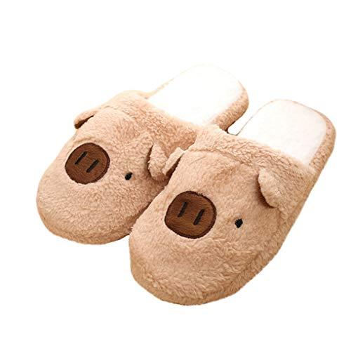 Starttwin Women Winter Home Slippers Cartoon Pig Non-Slip Soft Warm Indoor Floor Shoes
