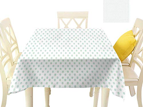 (firee Elegant Waterproof Spillproof Polyester Fabric Table Cover Retro Pattern with Polka Dots in Pastel Color Baby Nursery Theme Old Fashioned W70 x L70, Indoor Outdoor Camping Picnic)