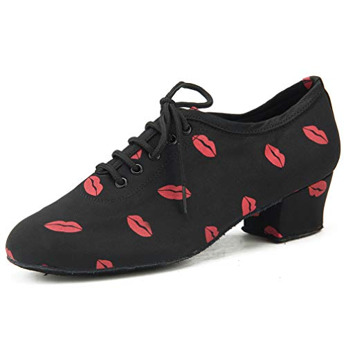 (Purifit Women Ballroom Dancing Shoes Ladies Latin Practice Shoe Suede Sole Lace-up,Black and Red Fabric, 6.5 B(M US)